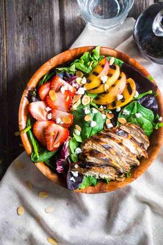 Strawberry Salad with Grilled Chicken, Nectarines, and Balsamic Vinaigrette from Food, Faith, Fitness