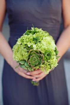 green bouquet, gray dress. Green and gray wedding ideas