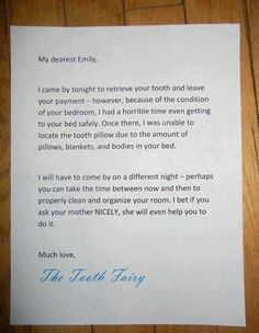 tooth faerie letter