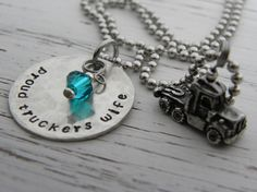 Proud Truckers Wife necklace  zircon by WhisperingMetalworks