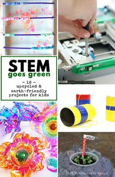 16 awesome hands-on STEM projects that encourage kids to explore nature and try to save it by upcycling / recycling. Part of the 28 Days of Hands-On STEM Activities for Kids series. Earth Day Activities, Science Activities For Kids, Stem Science, Stem Activities, Mad Science, Science Lessons, Science Experiments, Learning Activities, Stem Projects
