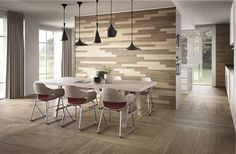 A fairy tale feeling in the dining room, just with Fabula #interiordesign #diningroom #piastrelle #rivestimento #parete #wood #woodeffect #legno #effettolegno