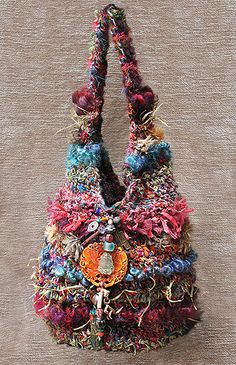 Bird's Nest Crochet Roving Bags. Funky bags made from fun fibers: recycled sari silk, banana silk, bamboo, twine, wool roving and novelty fibers
