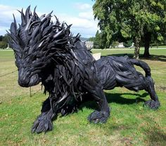 Lion made from old tires! Amazing!