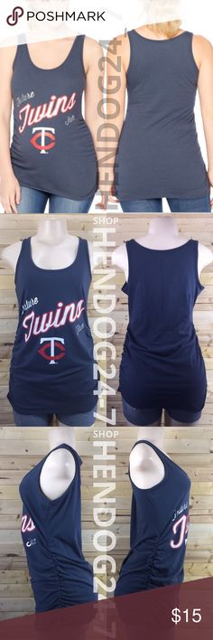 MOTHERHOOD MLB FUTURE FAN MINNESOTA TWINS TANK NEW WITHOUT TAGS - NEVER WORN - LINE THROUGH BRAND LABEL.  MLB MINNESOTA TWINS MOTHERHOOD MATERNITY TANK TEE   - MOTHERHOOD MATERNITY MLB TANK TEE  - GRAPHICS: MLB TEAM LOGO OUTLINED W/ METALLIC SILVER   - MSRP $24.98  - PRODUCT CODE #006-97776-027-001  - SCOOP NECK LINE  - NAVY TOP  - TANK TOP  - SIDE RUCHING  - FINISHED HEM TRIM  - MATERIAL: 51% COTTON, 49% POLYESTER  - MACHINE WASHABLE COLD  - MADE IN GUATEMALA Motherhood Maternity Tops Tank…