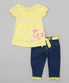 Look what I found on #zulily! Yellow Butterfly Peasant Tee & Denim Pants - Girls by Nannette Girl #zulilyfinds