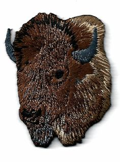 Buffalo - Southwest Buffalo Head - Brown - Left - Embroidered Iron On Patch