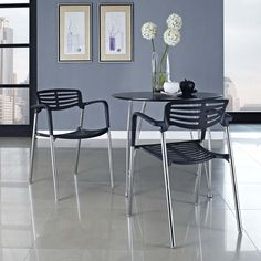 Fleet Stacking Chair, Black - Bring versatility to your meetings and events with a sturdy chair that fits all occasions. The Fleet stacking chair is made of stainless steel with a fashionable hard plastic seat and arm covering. The design is sleek and compact while providing the seating room necessary to accommodate your guests comfortably. Fleet stacks for easy storage. Set Includes: One - Fleet Metal Stacking Meeting Chair. Material: Aluminum, Chrome, Plastic. Weight: 14