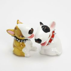 Bull Terrier Dog Ceramic Figurine Salt Pepper Shaker B00026 Ceramic Handmade Dog Lover Gift Collectible Home Decor Art and Crafts by Bull Terrier - madamepOmm -. $59.00. Bull Terrier Dog Lover Ceramic Original Handmade Hand Paint Salt and Pepper Shaker Figurine Ceramic Home Decor Collectibles  Made of ceramic porcelain high fired interior apply clear under-glaze, food safe painted with attention hand painted acrylic paint then apply clear gloss protected.  It's come with ...