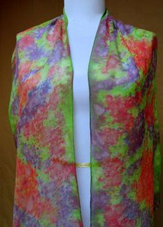 Handpainted silk chiffon scarf // silk accessory//art to wear// made in the USA one of a kind. Summer Sale $38.00 free ship #Silkworth ...