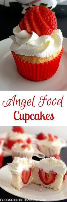 Angel Food Cupcakes with a fresh whipped cream frosting!: Angel Food Cupcakes with a fresh whipped cream frosting! Angel Food Cupcakes, Yummy Cupcakes, Cupcake Cakes, Strawberry Cupcakes, Strawberry Sauce, No Bake Desserts, Just Desserts, Delicious Desserts, Yummy Food