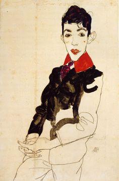 Egon Schiele Erich Lederer avec un col rouge - Albertina - Vienne 1913