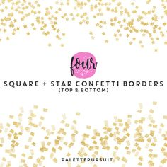 SALE Gold Confetti Clipart Borders Overlay / by PalettePursuit