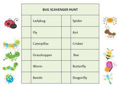 bug scavenger hunt ideas - Free Kids Printables
