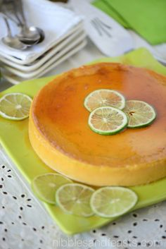 Lime Flan | Flan de Limón »  3/4 cup granulated sugar 11/3 cup Horizon Organic Whole Milk 1 (14 ounce) can condensed milk 6 eggs 1/3 cup lime juice 2 tablespoons fresh lime zest lime slices for garnish