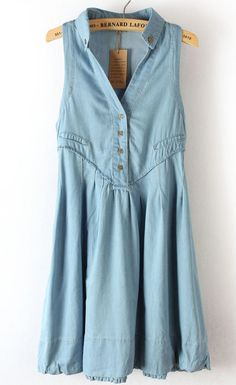 {sleeveless denim summer dress} pretty cute, specially paired with modern clogs or a pair of cowboy boots!