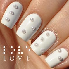 White with Pearls Nails ❤