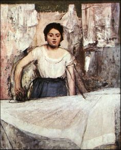 Edgar Degas - Woman Ironing, 1869 at Neue Pinakothek Art Museum Munich Listed in the book - 50 Impressionism Paintings You Should Know Pierre Auguste Renoir, Edouard Manet, Edgar Degas, Degas Paintings, Degas Drawings, Art Ancien, Oil Painting Reproductions, Impressionist Art, French Artists