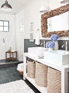 rustic + modern bathroom - love the hamper under sink