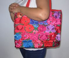 Mexican hand embroidery Purse Bag Chiapas Frida by MXArtsCrafts