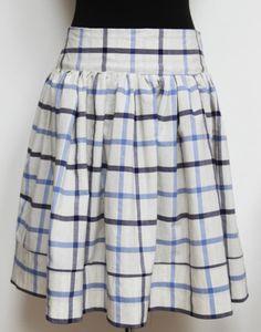 Kostkovaná kolová sukně z bavlněného plátna