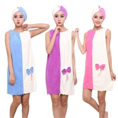 2c1fe2c03a Honana BX-969 Flannel Soft Absorbent Skirts Salon Bathrobe Women SPA Bath  Towel With Hair Dry Cap
