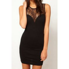 $8.79 New Women's Sleeveless Sexy Lace Splicing Deep V Back Slim Dress Black