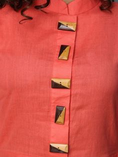 Buy Peach Cotton Linen Asymmetric Dress online at Theloom Kurtha Designs, Chudidhar Neck Designs, Salwar Neck Designs, Kurta Neck Design, Neck Designs For Suits, Kurta Designs Women, Dress Neck Designs, Blouse Designs, Sleeve Designs