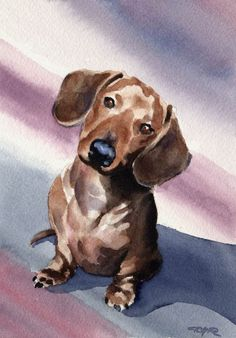 DACHSHUND Art Print by Watercolor Artist DJ Rogers About the Artwork: This is a professional open edition Giclee print by artist David J. Artwork is printed on heavy, high quality Basset Dachshund, Dachshund Funny, Dachshund Art, Dog Paintings, Watercolor Paintings, Watercolor Paper, Watercolor Trees, Watercolor Artists, Indian Paintings