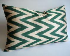 Sukan / Hand Woven Original Silk ikat Pillow Cover Green by sukan