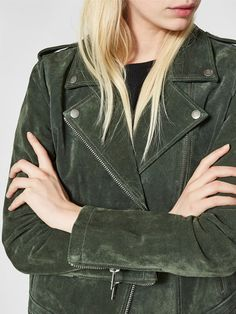SUEDE - LEATHER JACKET, Forest Night, large