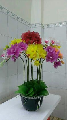 Nylon Flowers, Exotic Flowers, Diy Flowers, Colorful Flowers, Fabric Flowers, Flower Pots, Paper Flowers, Orchid Flower Arrangements, Orchid Centerpieces