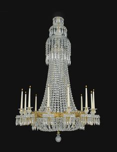 A Regency cut-glass and gilt-bronze twelve light chandelier circa 1815, attributed to Hancock, Shepherd and Rix