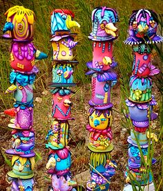 Totems by Alice Stroppel. Pingree polymer totem swap.