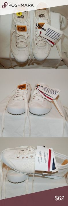NWT Asics Onitsuka Tiger White Sneakers New, never worn Onitsuka Tiger sneakers. Stylish white sneakers. No scuff marks. Medium width. Asics Shoes Sneakers