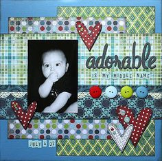 basic grey love the buttons and hearts adorable scrapbook# page # boy # layout Baby Boy Scrapbook, Baby Scrapbook Pages, Scrapbook Paper Crafts, Scrapbook Cards, Scrapbook Photos, Scrapbook Layout Sketches, Scrapbook Designs, Scrapbooking Layouts, Scrapbook Templates