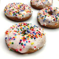 Homemade Donuts ½ cup whole wheat flour, ½ cup oat flour, ½ Tbsp coconut flour, 1/3 cup stevia/splenda, 2 tsp cinnamon, 1 Tbsp baking powder, 1/8 tsp salt, ¼ cup egg whites, ½ cup almond milk, 1 tsp vanilla, ¼ cup greek yogurt, 2 tsp apple sauce