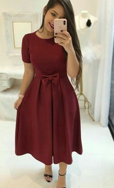 Stylish Burgundy Tea Length Prom Dress by RosyProm on Zibbet Modest Dresses, Modest Outfits, Modest Fashion, Cute Dresses, Dress Outfits, Prom Dresses, Fashion Outfits, Formal Dresses, Church Dresses