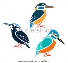 Stylized Kingfishers - Common Kingfisher, Silvery Kingfisher, Blue-Banded Kingfisher