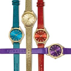"The most sparkling time of the year! Dazzling strap, 9"" L with goldtone case.Your choice of Teal, Gold-Color, Red, or Purple."