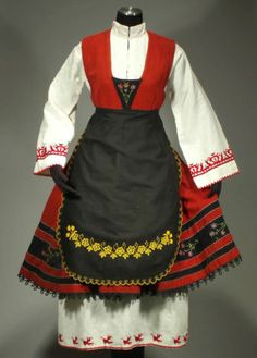 Bulgarian Ethnic Costume Folk Dance Embroidered Dress Apron Peasant Blouse Old | eBay