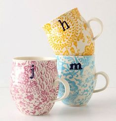Homegrown Monogram Mugs from Anthropologie. Inexpensive - perfect for 'thank you' or birthday gifts to friends. Coffee Love, Coffee Cups, Tea Cups, Pretty Mugs, Cute Mugs, Cute Coffee Mugs, Holiday Gift Guide, Holiday Gifts, Christmas Gifts