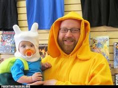 Father and Son Adventure Time Cosplay Family Costumes, Baby Costumes, Halloween Costumes For Kids, Cosplay Costumes, Halloween Ideas, Weird Costumes, Halloween 2014, Funny Halloween, Adventure Time Costume