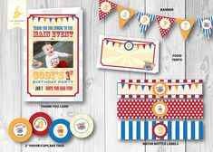 Dumbo - Circus Personalized Printable Party Pack - Including Thank You Card, Favor/Cupcake Tags, Banner, Water Bottle Labels  & Food Tents= $30