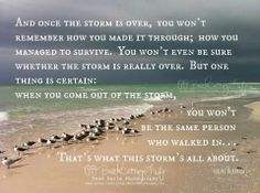 And once the storm is over, you won't remember how you made it through...