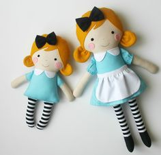 Mini Alice in Wonderland doll Small rag doll Gift idea by blita