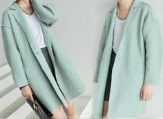 106---Women's Boiled  Wool Tulip Cocoon Mint Coat, Supersized, Oversized, Notched Lapel Unlined Coat, Winter Sweater Jacket for Petites. by EDOA on Etsy https://www.etsy.com/listing/185959368/106-womens-boiled-wool-tulip-cocoon-mint
