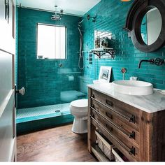 Tile Tuesday is all about a teal bathroom! Modwalls' American made Kiln ceramic subway tile In the color Teal Agate. Room design by interiordesign tiles tilestyle tiletuesday tileometry colorwins modwalls 823666219336427761 Bad Inspiration, Bathroom Inspiration, Style Tile, Bathroom Colors, Turquoise Bathroom, Colorful Bathroom, Bathroom Layout, Cool Bathroom Ideas, Easy Bathroom Updates