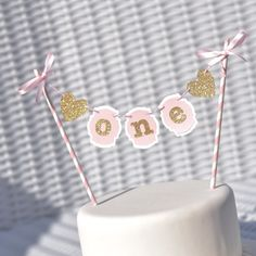 Pink and Gold Cake Bunting, Pink and Gold First Birthday Cake topper by RusticDaisyDesigns on Etsy