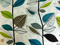 One Yard - Retro autumn leaves teal, green and grey fabric via Etsy